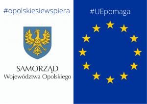 Z lewej Logo SWO z #opolskiesiewspiera, po prawej flaga UE z #UEpomaga