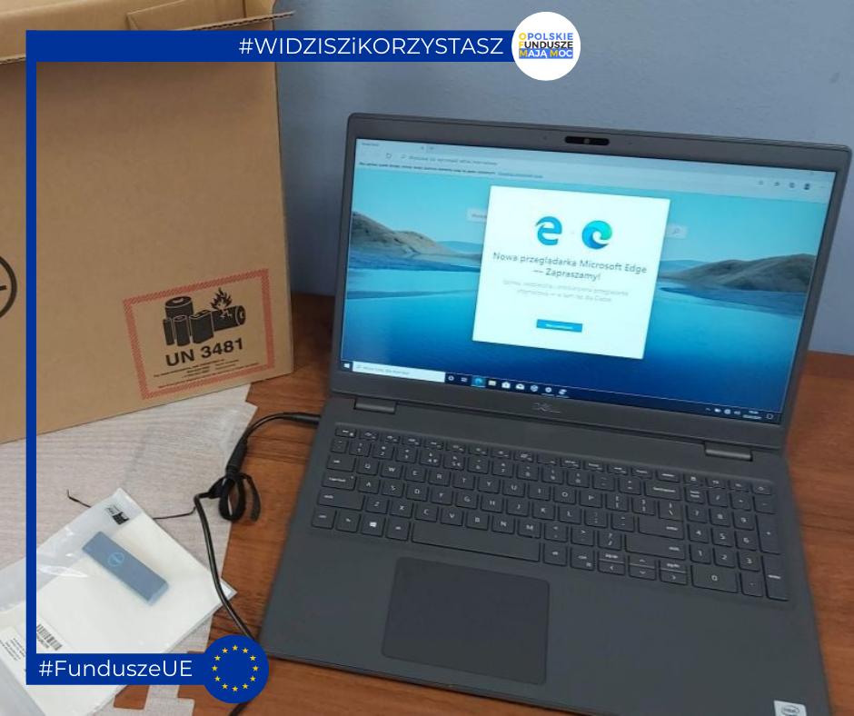 Rozpakowany, przykładowy laptop dla nauczycieli