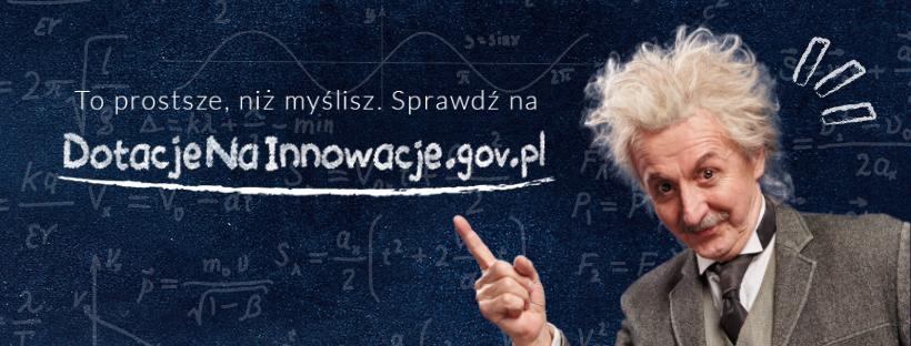 Postać sobowtóra Alberta Einsteina wskazująca adres strony www.dotacjenainnowacje.gov.pl