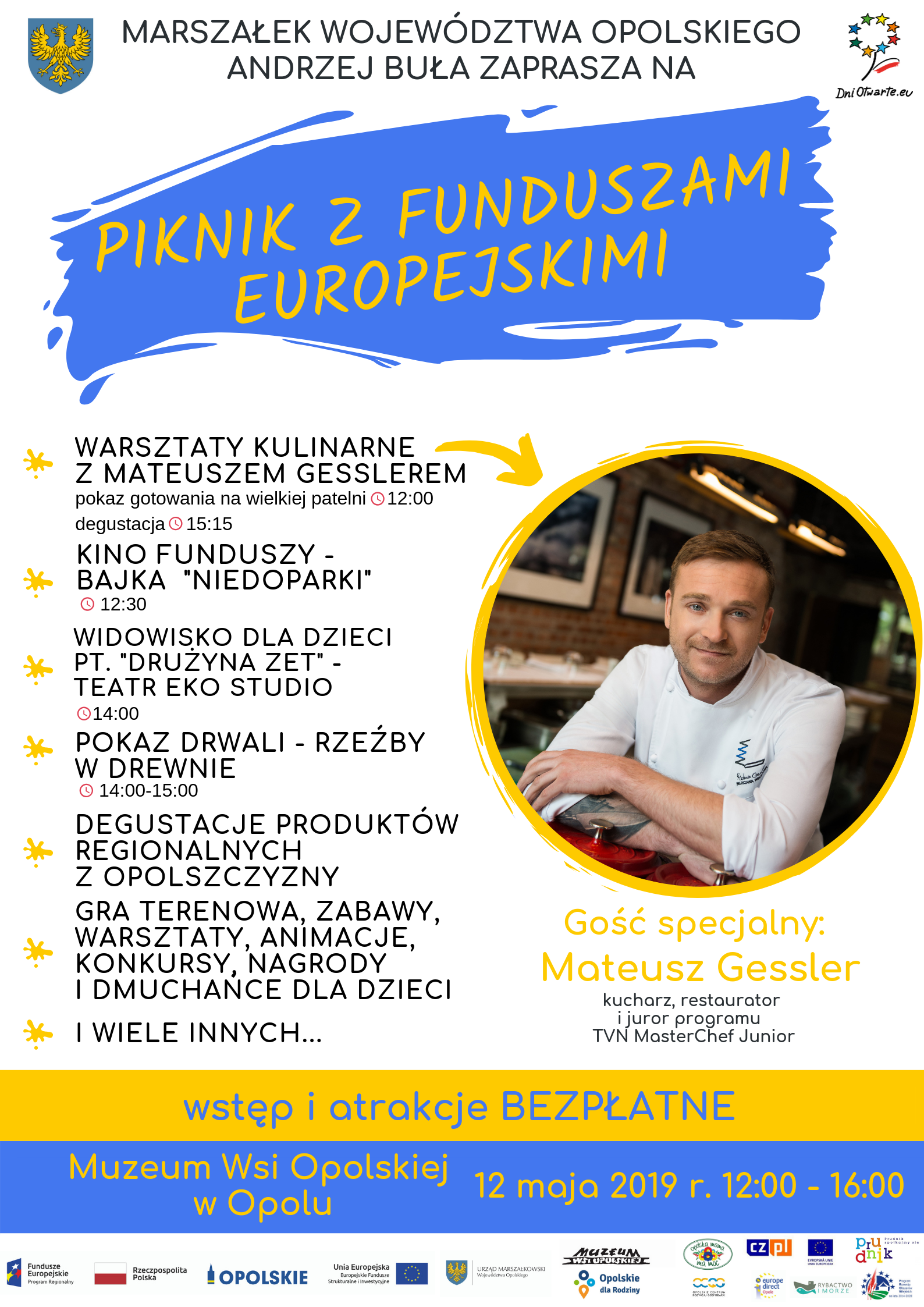 Plakat Piknik z funduszami Europejskimi