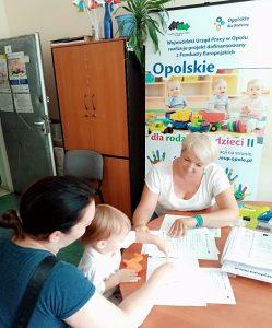 Dwie kobiety i dziecko siedzące przy stole w biurze projektu